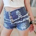 Verão de estilo de Punk Rock moda Shorts Jeans de cintura alta Ripped Jeans curto Sexy mulheres curto Femme