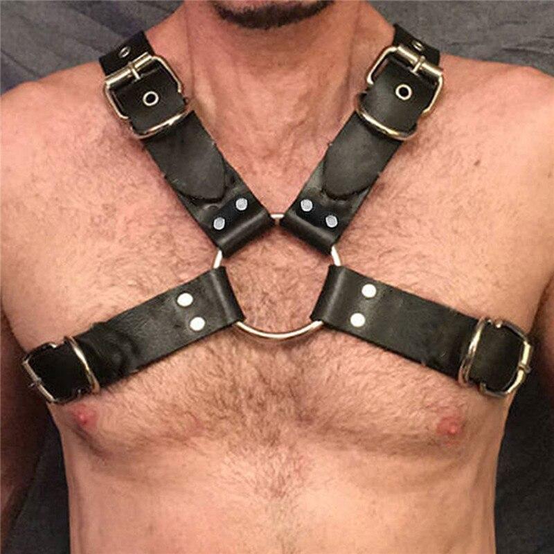 MSemis Harness Mens Bondage Gay Punk Leather Harness Men Body Chest Shoulder Half Harness Belt Fetish Gay Bdsm Bondage Clubwear