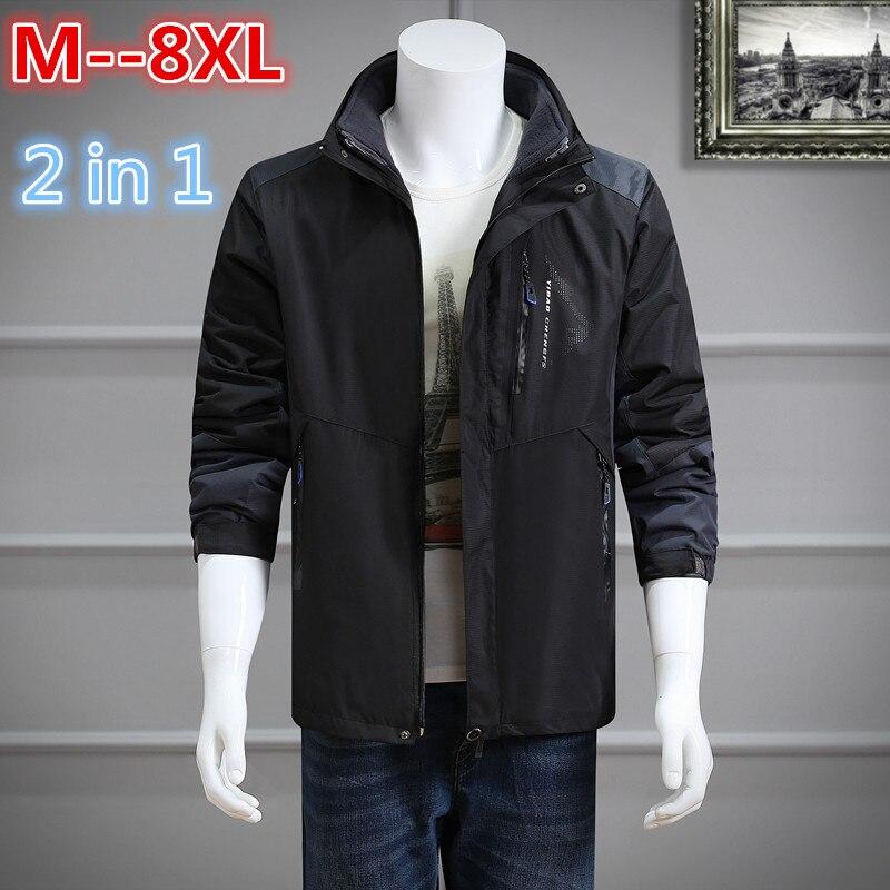 2017 Plus Size 8XL 6XL 5XL 4XL Waterproof Winter Jacket Men Warm 2 in 1 Parkas Windproof Detachable Hood Winter Coat агхора 2 кундалини 4 издание роберт свобода isbn 978 5 903851 83 6