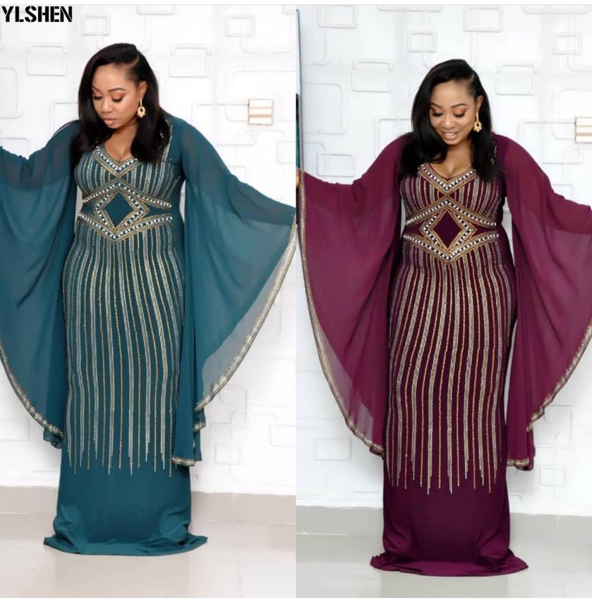 African Dresses for Women Dashiki Diamond Beading African Clothes Bazin Riche Sexy Chiffon Ruffle Sleeve Robe Evening Long Dress 06
