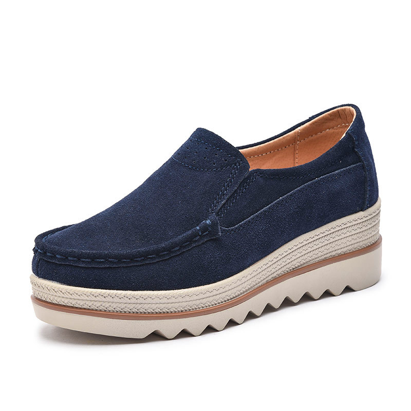 Spring Autumn Women Flats Shoes Platform Sneakers   Leather     Suede   Casual Large Sizes Shoes Slip On Flats Heels Creepers Moccasins