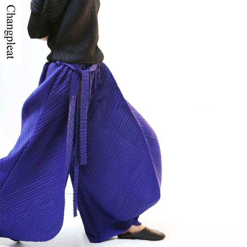 Changpleat 2017 새로운 여성 넓은 다리 바지 miyak pleated 디자인 패션 탄성 허리 여름 여성 바지 플러스 크기 바지 p789-에서팬티 & 카프리스부터 여성 의류 의  그룹 1