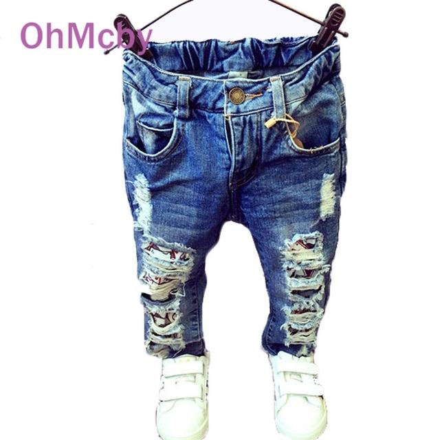 OhMcby Crianças Buraco Quebrado Calças Calças 2017 Do Bebê Das Meninas Dos Meninos Marca de Jeans Da Moda Outono 2-7Y Crianças Calças Crianças Roupas
