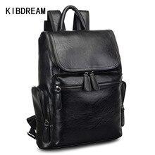 KIBDREAM 2016 Vintage Leather Men Backpacks School Bag for Teenage Boys Mochilas Backpack Men's Shoulder Bag Laptop Backpack