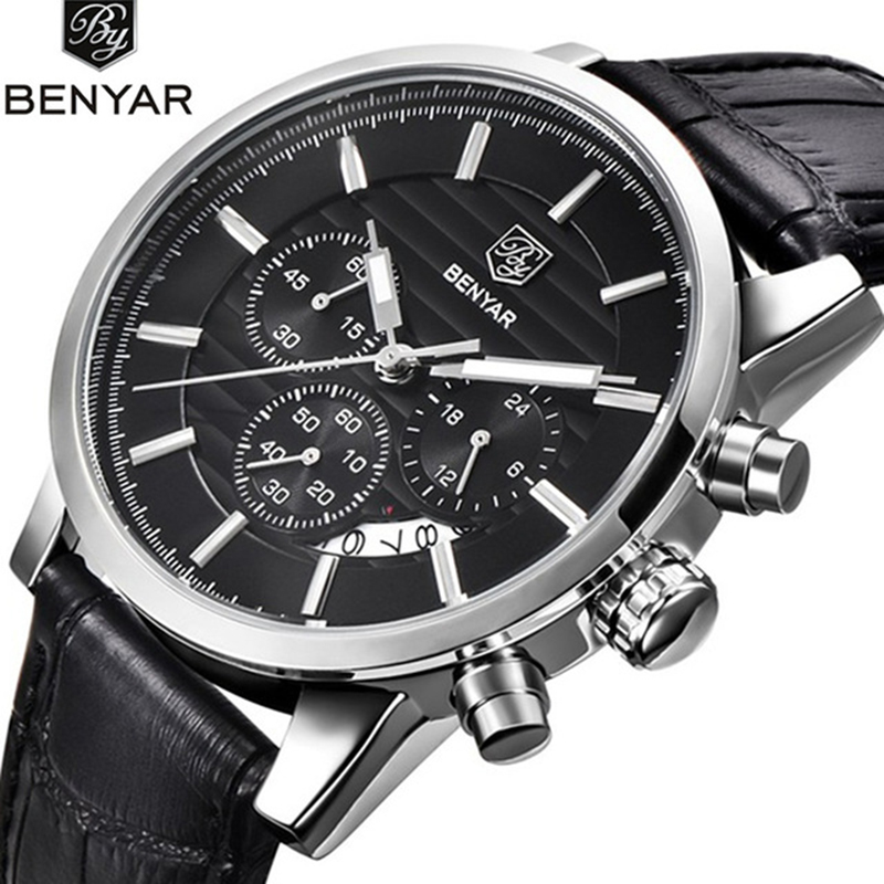 <font><b>BENYAR</b></font> Quartz Watches Men's business Wrist Watch Chronograph Waterproof Sports Watches Design Leather Band Strap Watches for Men image