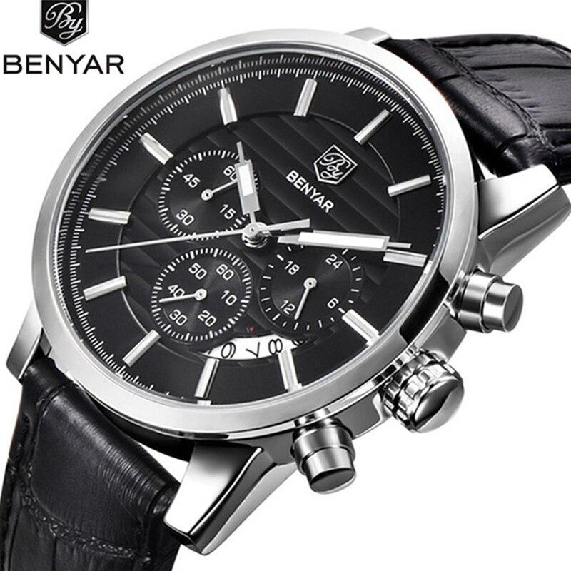 BENYAR Quartz Watches Men's business Wrist Watch Chronograph Waterproof Sports Watches Design Leather Band Strap Watches for Men все цены