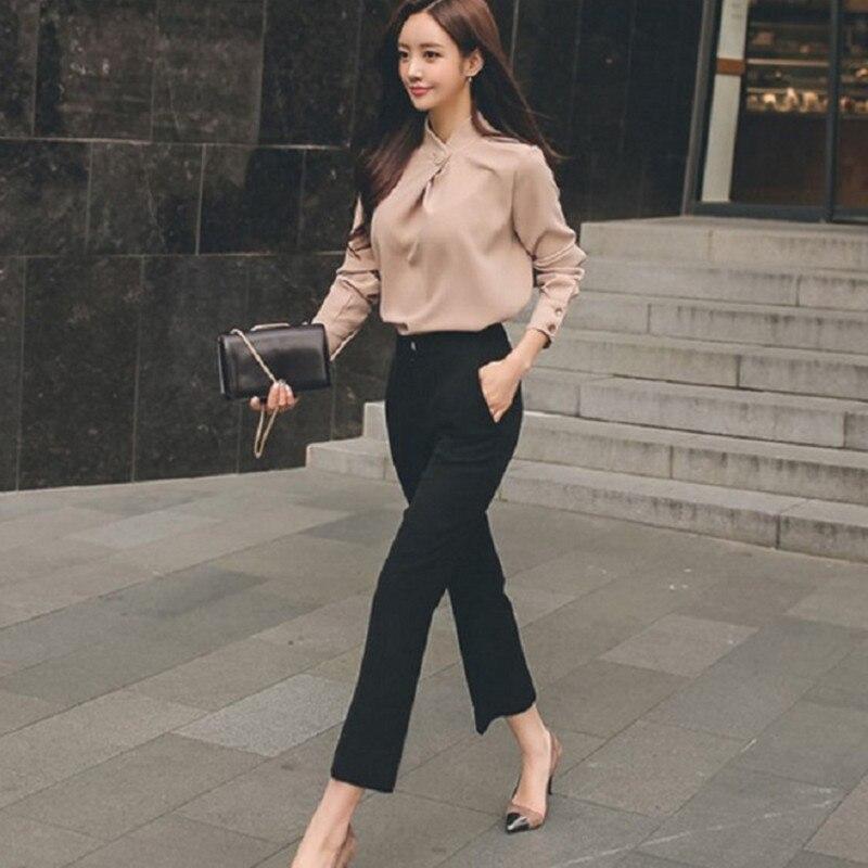 2018 jesień kobieta garnitur garnitury biurowe biurowa, damska Slim stojak kołnierz luźna z szyfonu bluzka + proste spodnie 2 szt spodnie garnitury 1