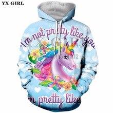 YX Girl Brand Women Hooded Sweatshirt 3d Print Cartoon Unicorn Hoodies Female Colorful Pullover Hoodie Sweatshirts Tops