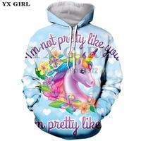YX Girl Brand Women Hooded Sweatshirt 3d Print Cartoon Unicorn Hoodies Female Colorful Pullover Unicorn Hoodie Sweatshirts Tops