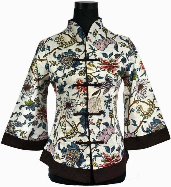 Recién llegado de primavera de estilo chino tradicional mujeres de lino chaqueta escudo flores más el tamaño sml XL XXL XXXL 4XL 5XL 2218-3