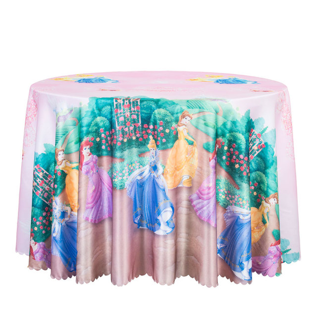 10PCS Cartoon Pink Printed Tablecloth For Girls Decor Round Table Cover For  Outdoor Party Hotel Kids