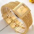 2017 Новые часы женщины мода роскошные наручные часы дамы золото стальной браслет кварцевые часы с бриллиантами горный хрусталь relogio feminino