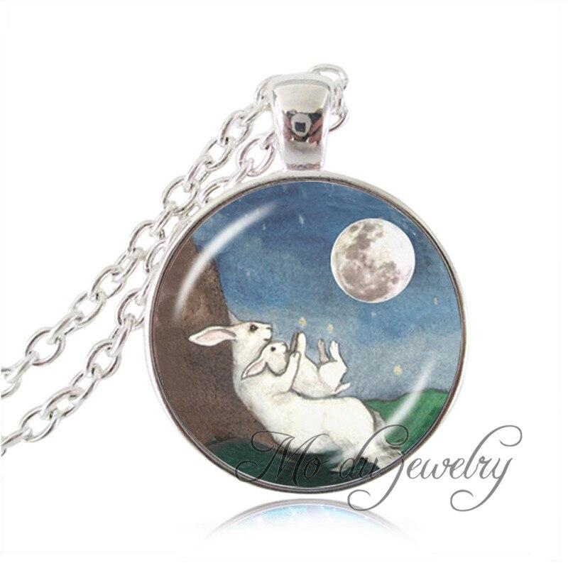 Conejo collar de Luna collar de Gargantilla animal conejo blanco colgante  de la madre regalo plateó la joyería pendiente 3d375f3dd9