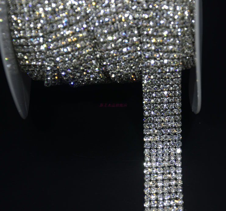 Free ship!6rows super close diamante rhinestone cake banding applique trim wedding crystal chain decorative 18mm width 1yard/lot