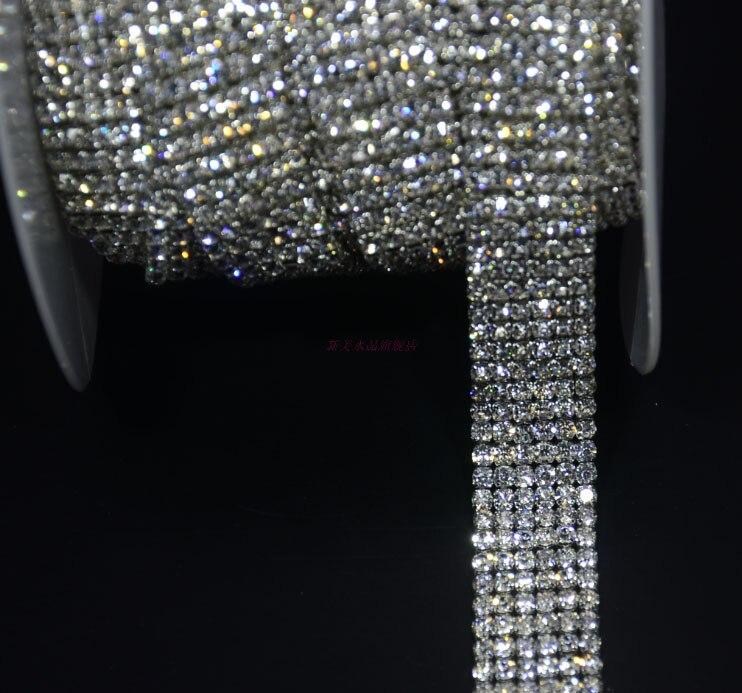 Libérez le bateau! 6 rangées super proche diamante strass gâteau baguage applique garniture de mariage cristal chaîne décoratif 18mm largeur 1 yard/lot