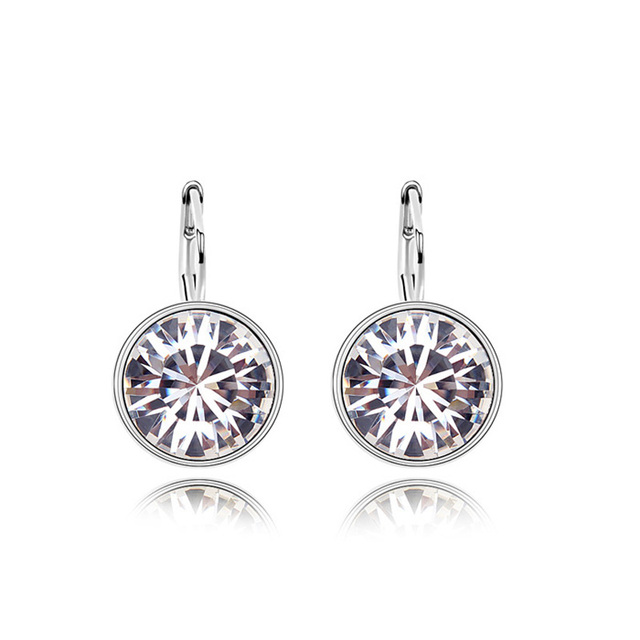 8f2398f57 Austrian Crystal White Stud Earrings Round Stone Design Fashion Simple  Earrings Brand Statement Jewelry Hot Sale Bijoux EEH0038