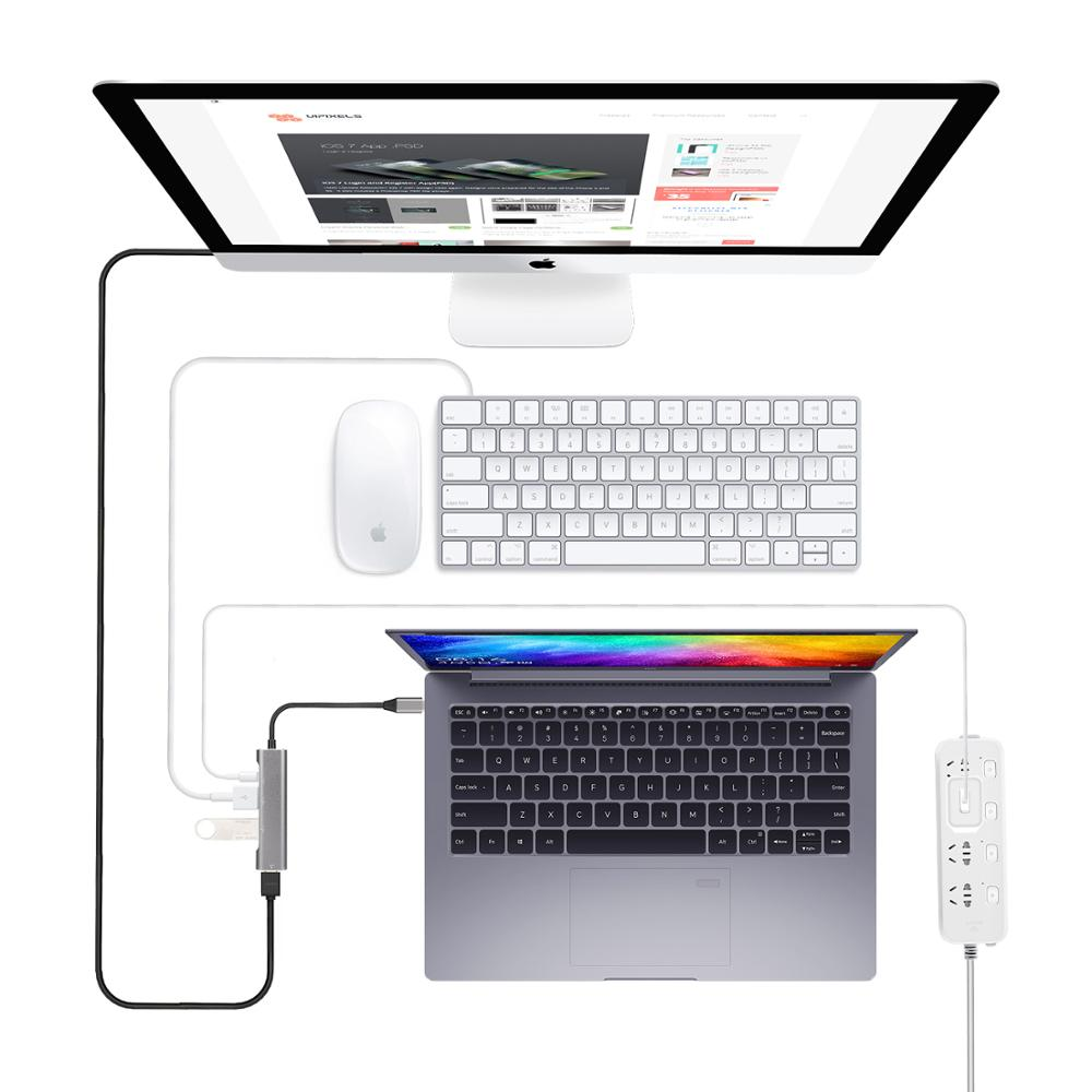 USB Hub Thunderbolt 3 Type C to HDMI Adapter desktop experience for Huawei Mate 20 p20 p30 pro to TV Monitor Projector in USB Hubs from Computer Office