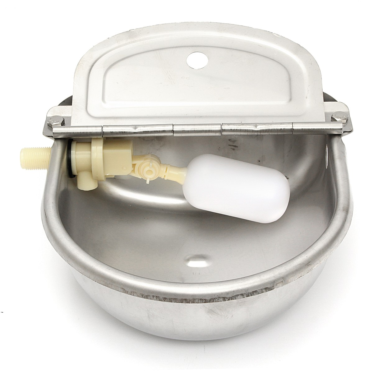 2.5L Automatic Bowl Feed Water Farm Animals Drinking Tool Fluid Cup Trough Stainless Steel Auto For Dog Sheep Chicken Pig