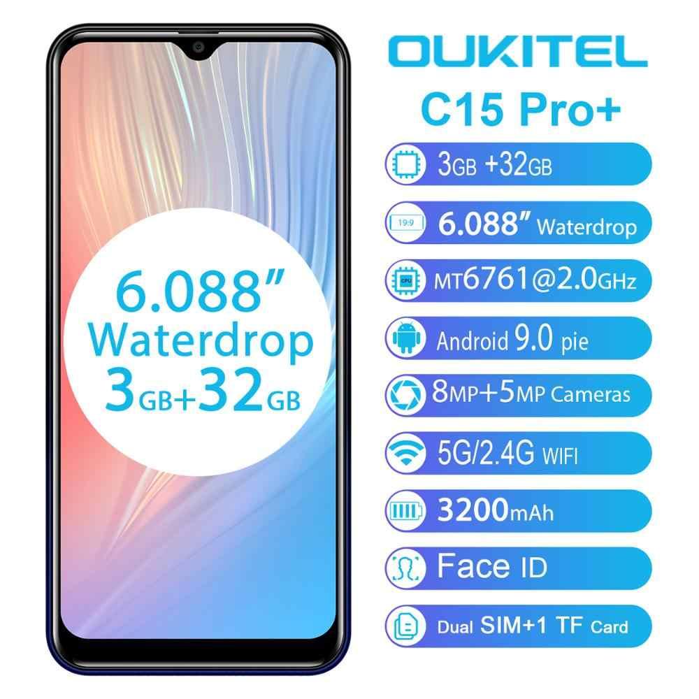 OUKITEL C15 Pro + 6,088 ''19:9 мобильный телефон Android 9,0 пирог 3 ГБ 32 ГБ MT6761 Водонепроницаемая капля смартфон лицо ID 5G WiFi 4G мобильный телефон