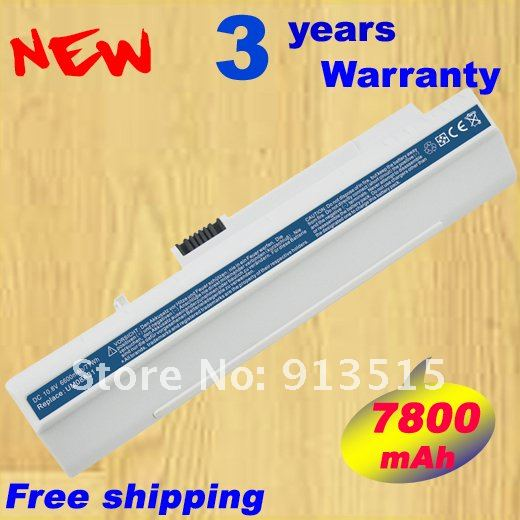 7800MAH battery for Acer Aspire One 8.9'' ZG5 KAV10 KAV60 A110 A150 10.1 D150 D250 P531H EM250 Gateway LT 11.6 .White