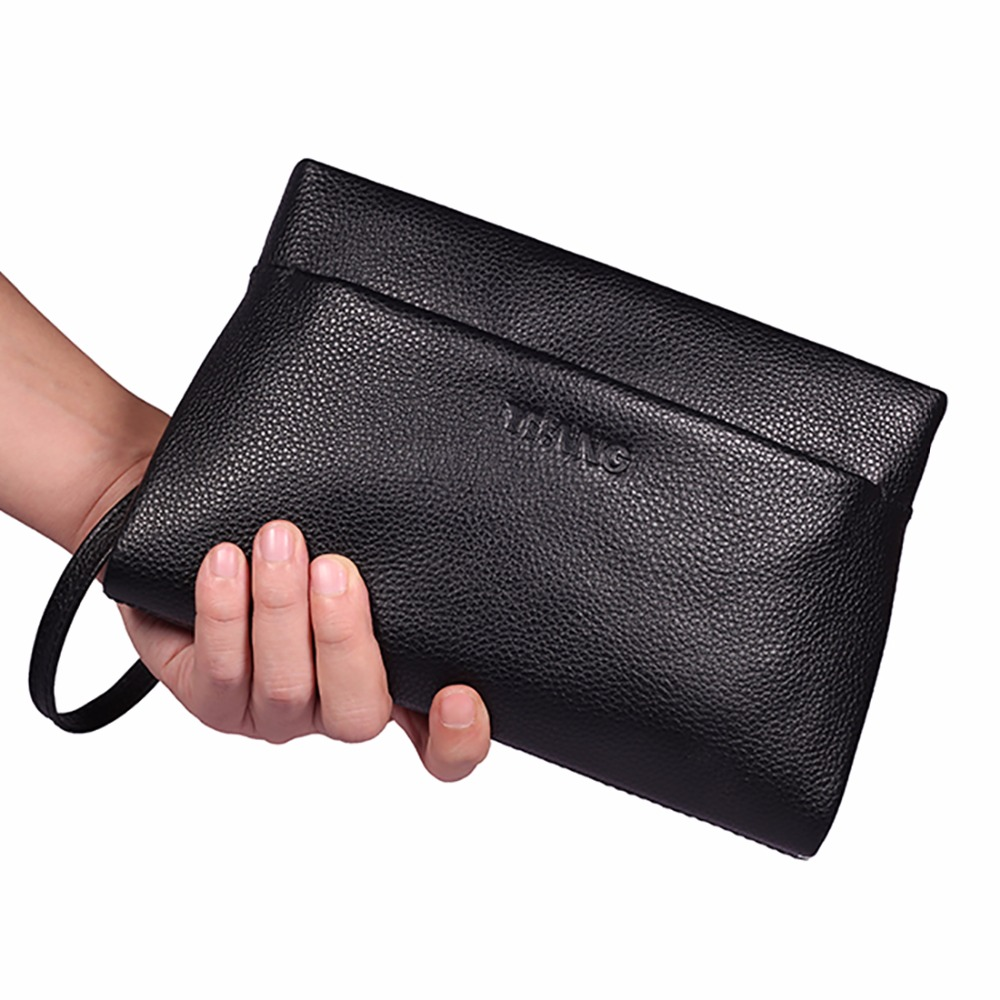 100% Genuine Leather Cowhide Men Wallets High Quality Hand Bags Fashion Trend Male Purse Famous Brand Large Capacity Clutch Bag
