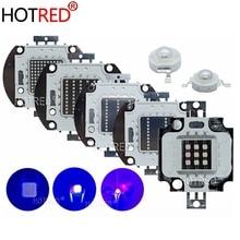 UV 紫 Led 紫外線電球ランプチップス 365nm 375nm 380nm 385nm 395nm 400nm 405nm 3 ワット 5 ワット 10 ワット 20 ワット 30 ワット 50 ワット 100 ワットハイパワーライト