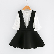 Baby Girl  Lace Tulle T-shirt Tops+Braces Skirt Set