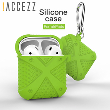 !ACCEZZ Silicone Earphone Case For AirPod Fundas Cover Accessories Apple Airpods Bluetooth Wireless Headphone Box Keychain