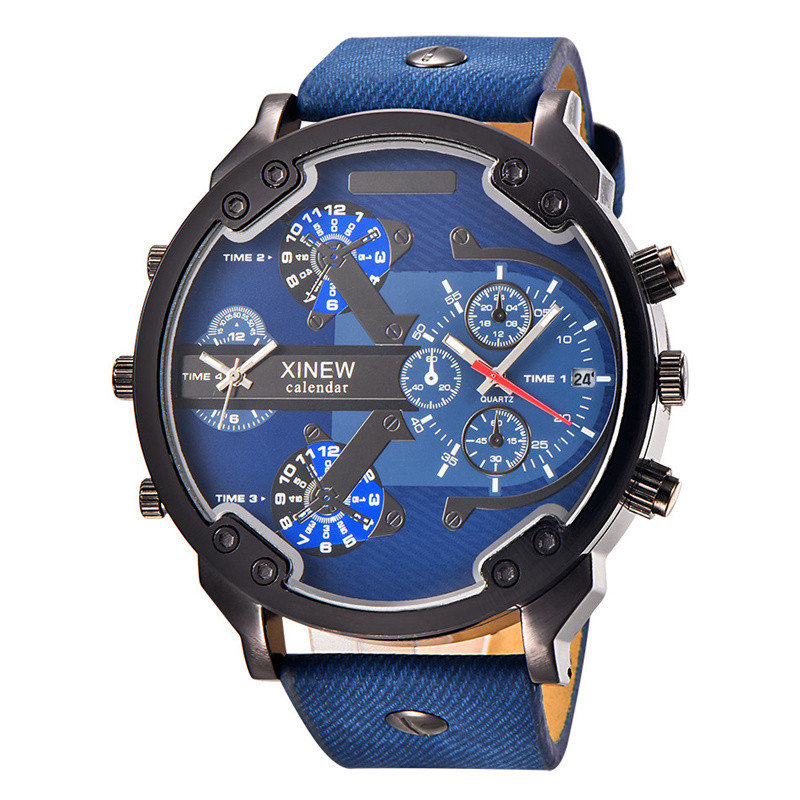 Famous Luxury Brand Male Watch Casual PU Leather Mens Sports Wristwatch Large Big Size Men Military Watches relogio masculino oulm large big dial luxury mens sports watches male quartz watch pu leather strap wristwatch relogios masculino esportivo