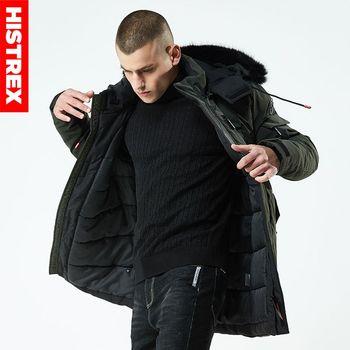 HISTREX Men Parkas Winter Jacket Fur Hooded Coat Long Jacket Mens Parka Padded Thick Overcoat Army Wine Plus Size 3XL 4XL HP3DF#