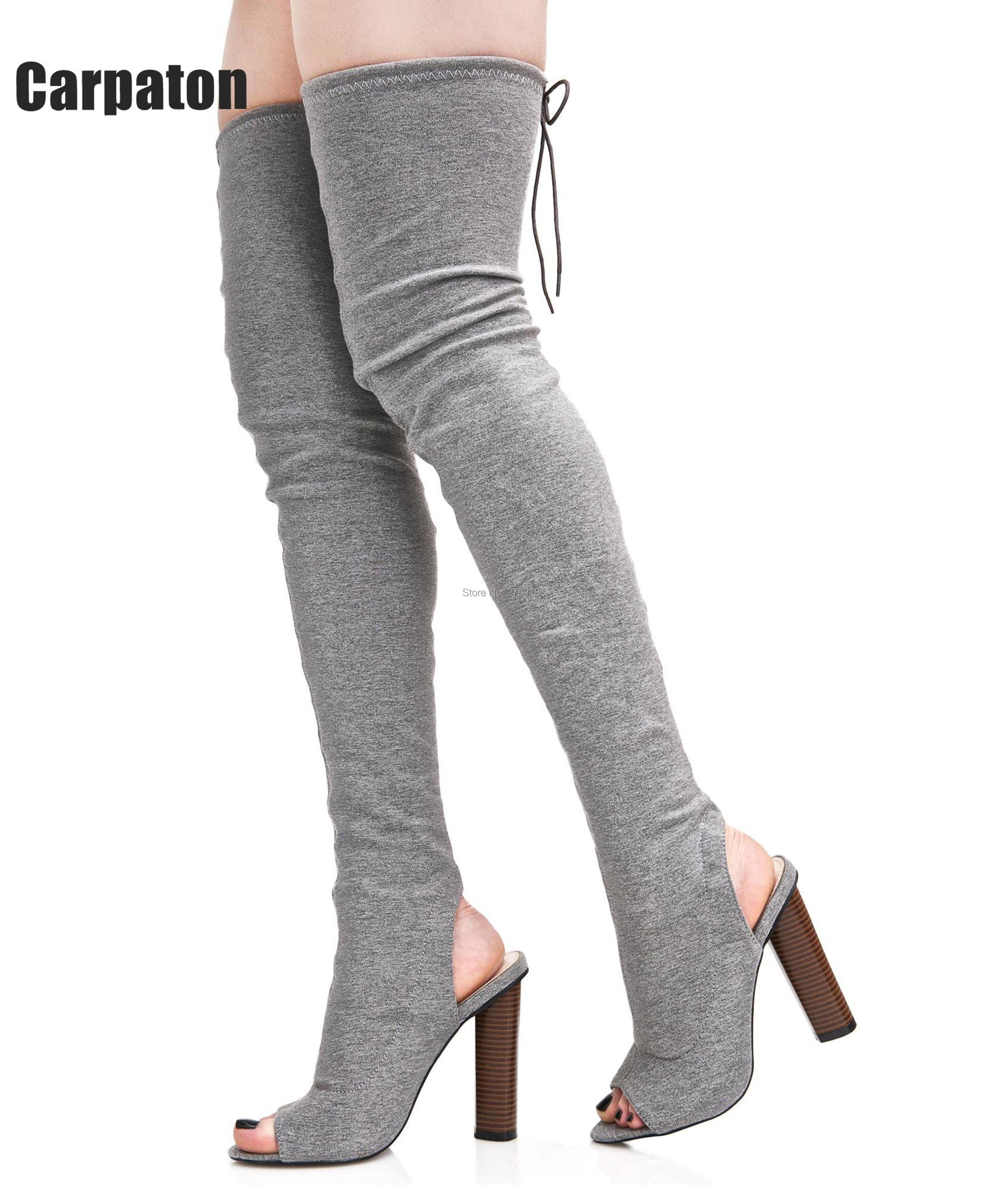 72d46cbe04a Women Stretch Suede Leather Slim Thigh High Boots Sexy Fashion Over the Knee  Boots High Heels Woman Shoes Black beige Winered