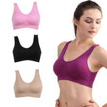 Sport Bra Fitness Running Vest Underwear Padded Crop Tops Seamless Wire Free Solid Color Bras Female 7 Colors Size S-3XL