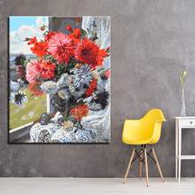 Bright Red and White Bouquets Picture By Numbers DIY Painting Kits Hand paited On Linen Canvas Modern Home Decorative Wall