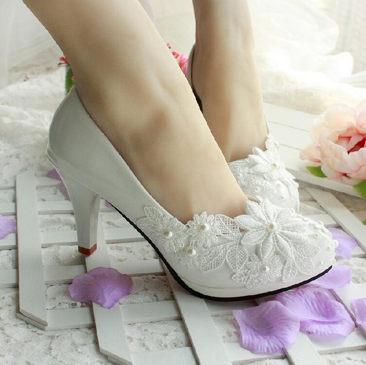 3CM 4.5CM 8.5CM 11CM 2015 women s spring and summer wedding shoes white  lace pearl wedding shoes bride bridesmaid shoes-in Women s Pumps from Shoes  on ... ef1b3cebfc55