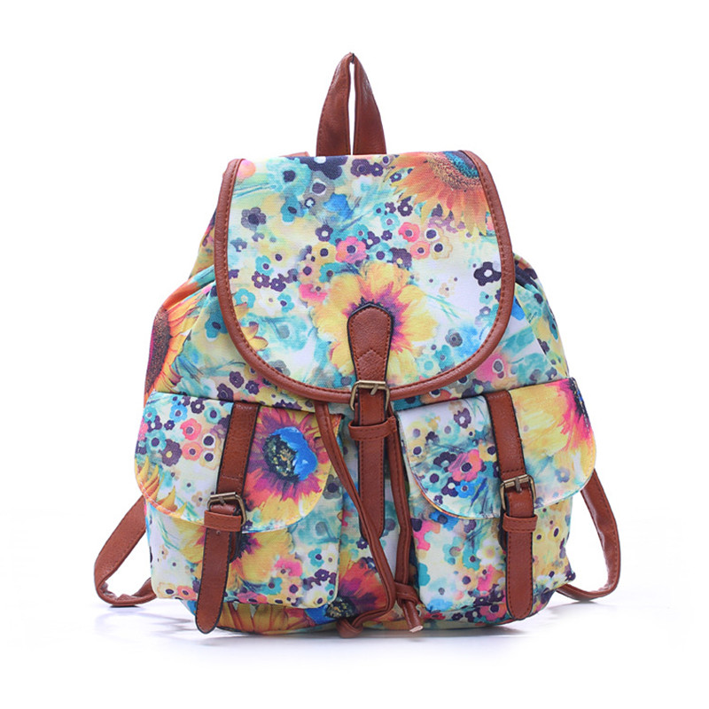 Fashion Woman Backpacks For School Women's Backpack Drawstring Printing Floral Canvas Bagpack Woman's Bag mochila Girls backpack 1pc hight quality hot fashion unisex emoji backpacks 3d printing bags drawstring backpack nov 10