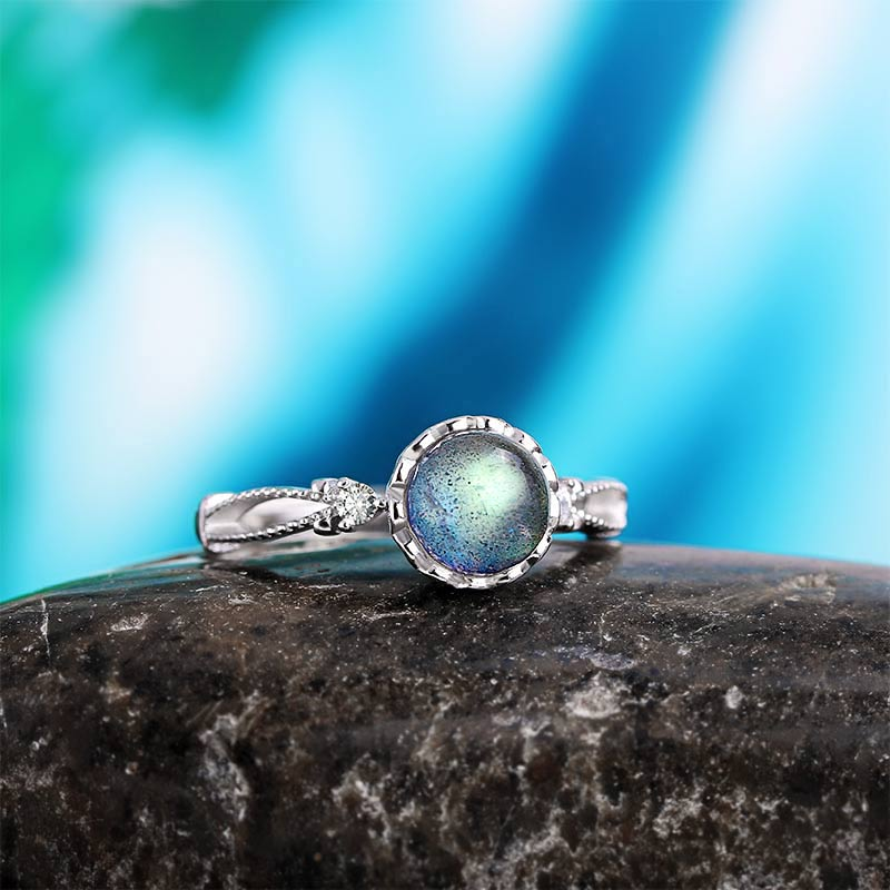 925 Silver Natural Stone Open Rings For Women Labradorite Stone Fine Jewelry Finger Rings Adjustable Bagues Sweet Girfriend Gift