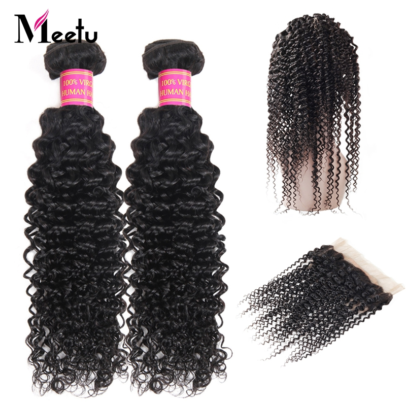 Meetu Mongolian Kinky Curly Hair 360 Frontal with Bundles Non Remy 2 Bundles with Frontal 100