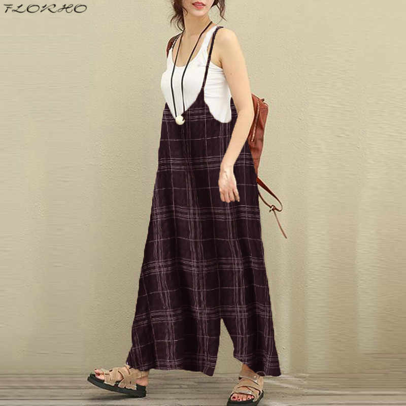 cefc7c746a ... Women Cotton Suspender Big Wide Leg Trousers 2018 Lattice Bib Romper  Overalls Casual Loose Jumpsuit Playsuits ...