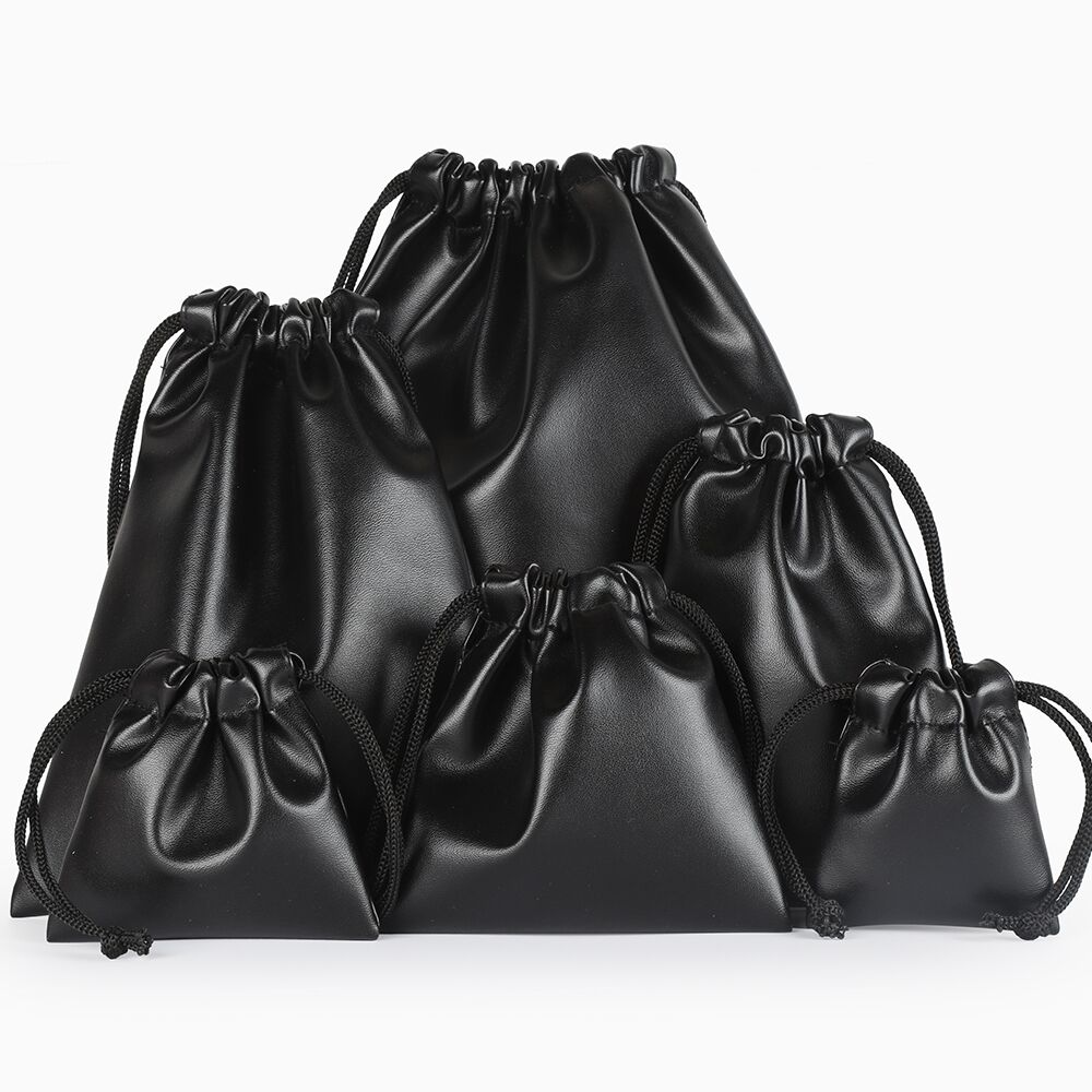 Custom Logo Print Packaging Bag Black Leather Drawstring Box Wedding Christmas Bag