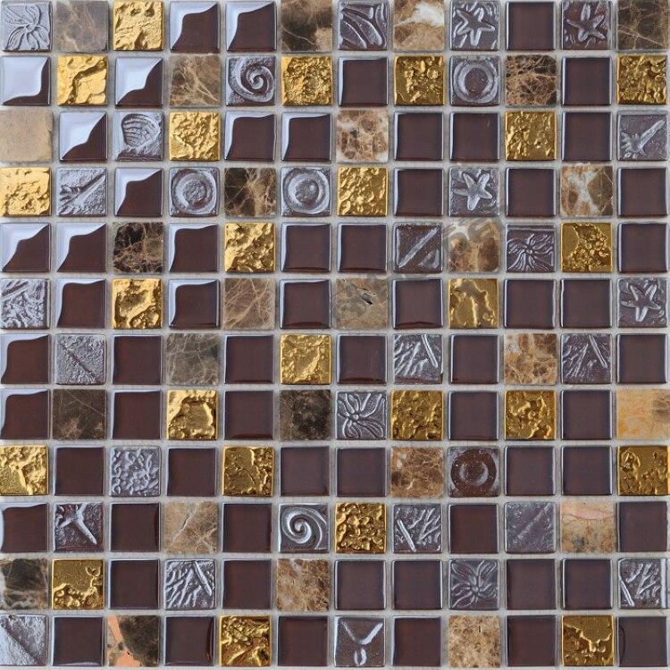 ᐊEnvío Expreso libre! Vidrio marrón y mármol mezclado azulejos de ...