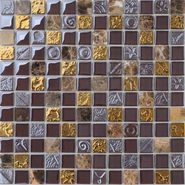 Trasporto libero espresso!! marrone vetro e marmo misto mosaico ...