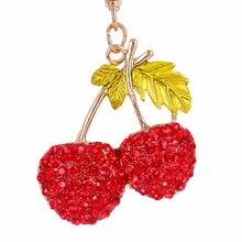 Fashion Cherry Crystal Keychain Purse Bag Buckle HandBag For Car Keyring Holder Women Key Ring llaveros