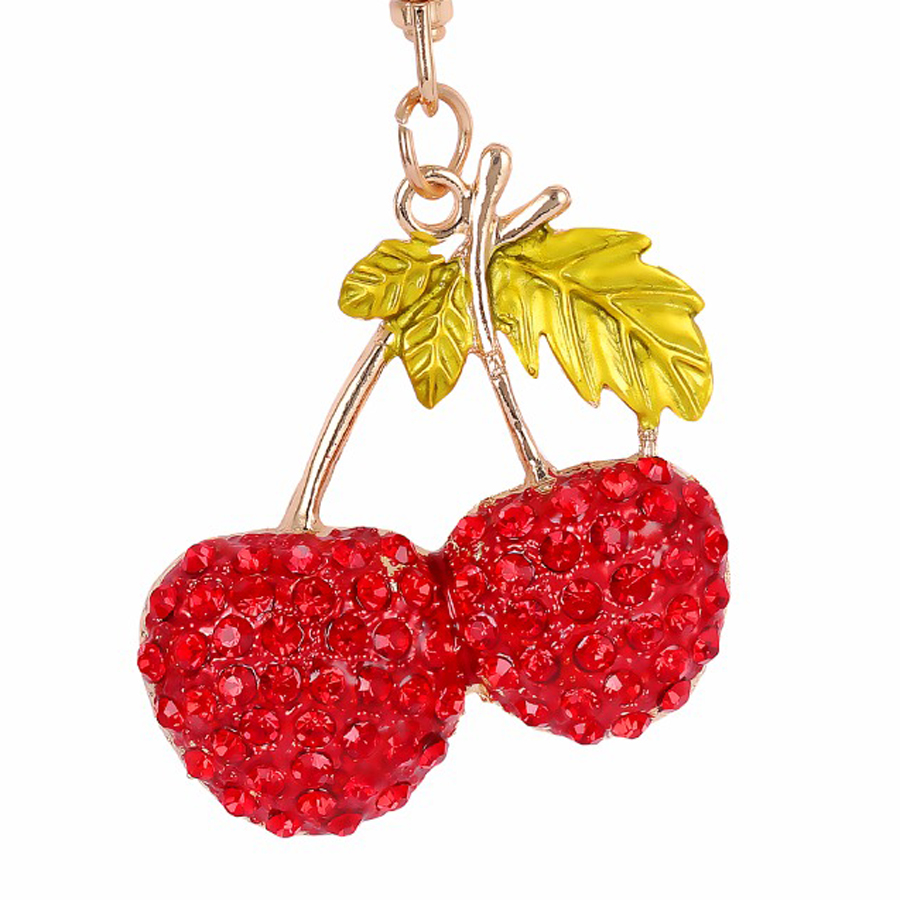 Fashion Cherry Crystal Keychain Purse Bag Buckle HandBag For Car Keyring Holder font b Women b