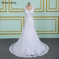 Wedding Dresses 2019 New Elegant Lace Sexy V Neck Mermaid Bride Dresses Marriage Gown