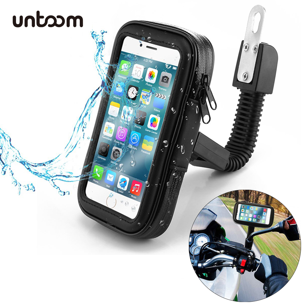 Waterproof Motorcycle Cell Phone Holder Bag Case For IPhone Xs Xr X 8 7 Plus Bike Review Mirror Mount Holder For Samsung Xiaomi