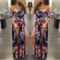 plus size MLXXL3XL 2016 Womens jumpsuits slash neck digital print split Bohemian long playsuits skinny lady beauty autumn summer