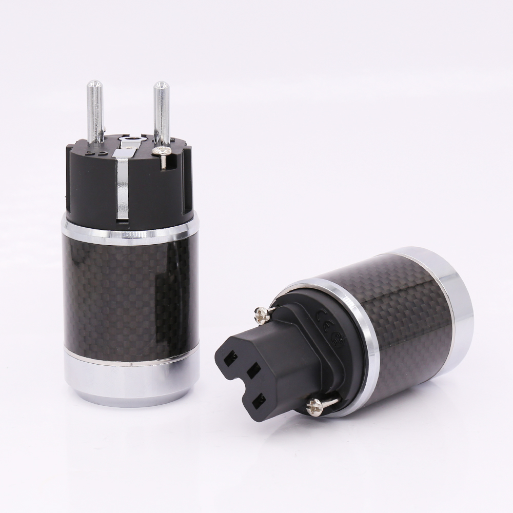 Hi Fi Power Connector Carbon Fiber with Rhodium plated EUR AC power plug Schuko plug