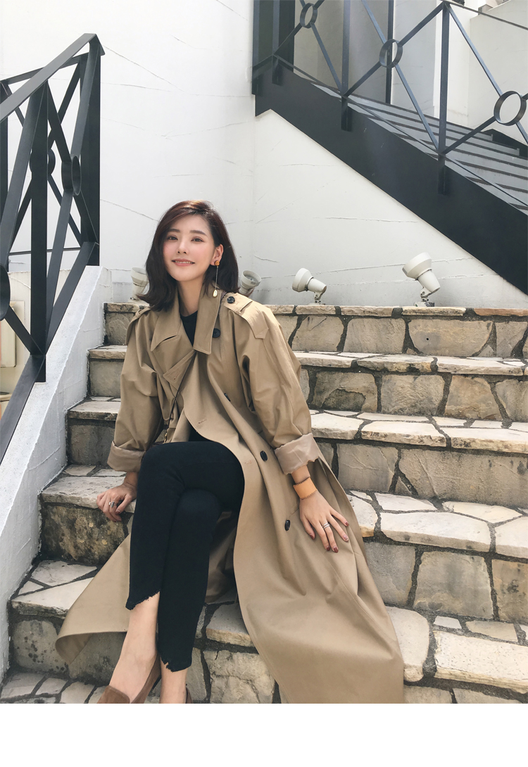 khaki Trench Coat Casual women's long Outerwear loose clothes for lady with belt spring autumn fashion high quality army green 1