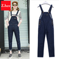 S-5xL Puls Size Classic Frayed Denim Overalls Jeans Women jumpsuit Tight High Waist Ripped Denim Overalls For Women Jeans