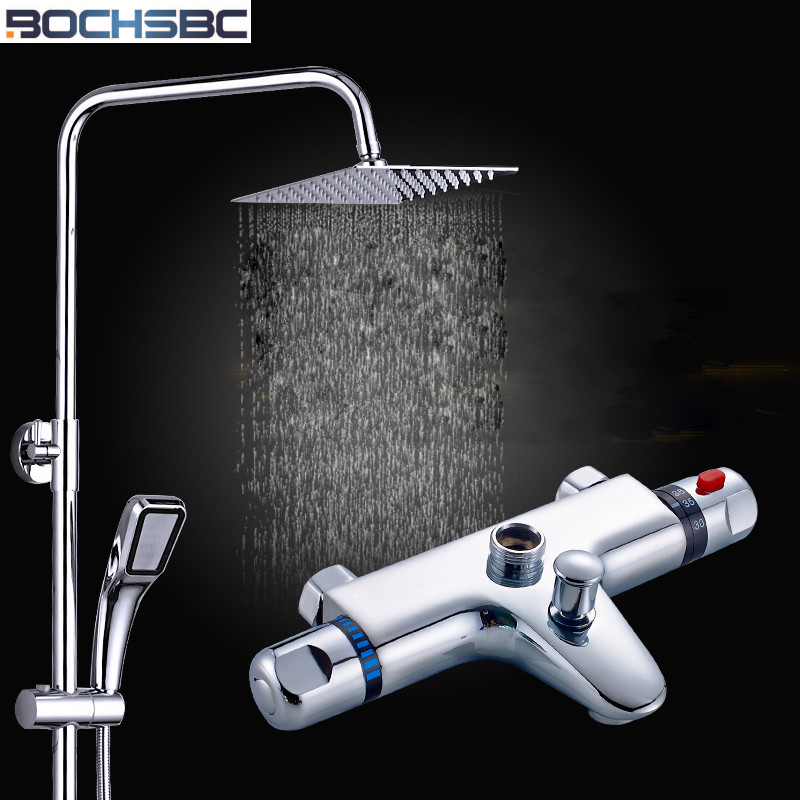 BOCHSBC Copper Rain Shower Head Stainless Steel Thermostatic Shower Set Temperature Control of Hot and Cold Shower Faucet Tap